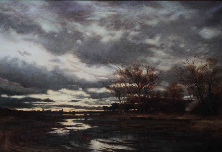 Sunset after Rain - Scottish 19th Century art Glasgow Boy landscape oil painting For Sale 1