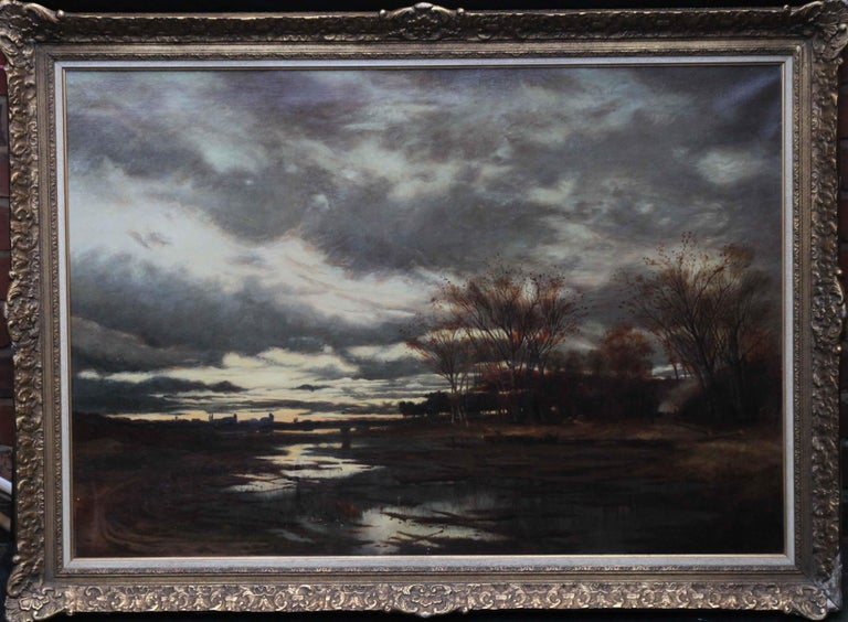 This dramatic large 19th century Scottish landscape is by famous Scottish Glasgow Boy artist John Reid Murray. Painted in 1890 the location is thought to be in France and Murray exhibited extensively in Europe with the other Glasgow Boys before his
