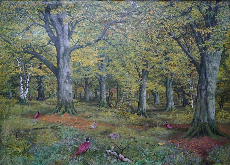 Pheasants in a Woodland - Scottish Victorian art animal landscape oil painting - Painting by John Reid