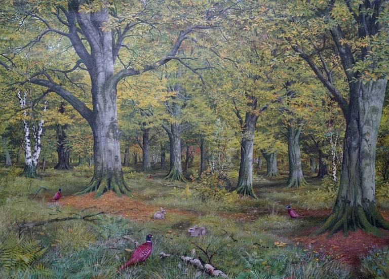Pheasants in a Woodland - Scottish Victorian art animal landscape oil painting - Realist Painting by John Reid