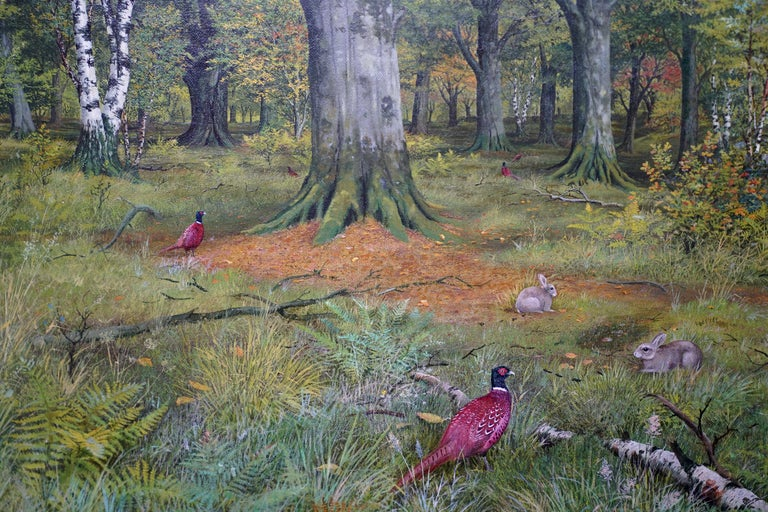 This lovely Scottish Victorian woodland landscape oil painting is by noted Scottish artist John Reid. Painted and exhibited in 1880 at the Royal Scottish Academy, the location is Morden or Moredun Wood in Edinburgh. A number of pheasants plus two