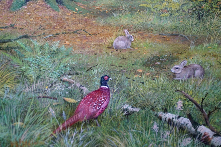 Pheasants in a Woodland - Scottish Victorian art animal landscape oil painting For Sale 1