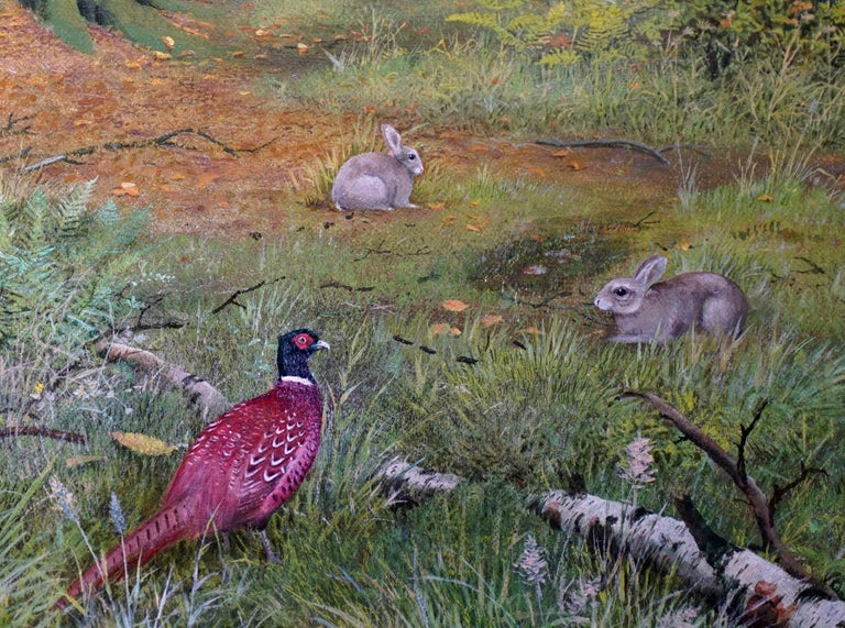 Pheasants in a Woodland - Scottish Victorian art animal landscape oil painting For Sale 2