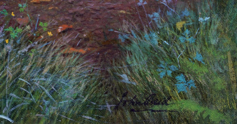 Pheasants in a Woodland - Scottish Victorian art animal landscape oil painting For Sale 3