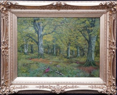 Pheasants in a Woodland - Scottish Victorian art animal landscape oil painting