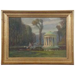 John Rettig Antique Oil on Board Rotunda Garden Landscape Figures Gazebo