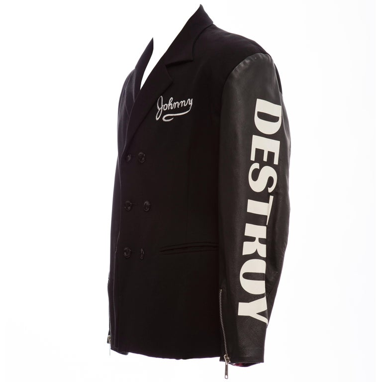 John Richmond Black Double Breasted Wool Leather Destroy Jacket, Circa 1980s For Sale