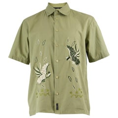 John Richmond Men's Light Green Khaki Embroidered Cockerel Short Sleeve Shirt