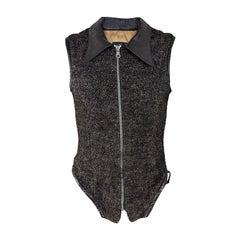John Richmond Mens Vintage Wool Bouclé and Black Leather Vest Jacket