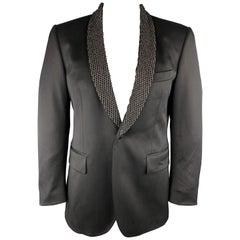 JOHN RICHMOND Size 42 Black Beaded Wool / Elastane Shawl Collar Sport Coat