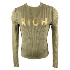 JOHN RICHMOND Size S Olive Ribbed Knit Gold Graphic Wool Blend Crew-Neck Pullove
