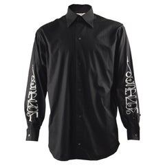 John Richmond Vintage 'Destroy' Embroidered Mens Black Cotton Shirt, 1990s
