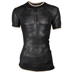 John Richmond Vintage Destroy Mens Vintage Sheer Black Mesh Shirt Top