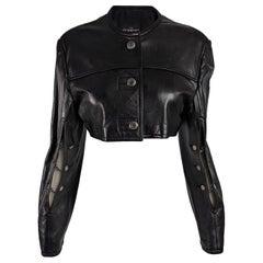 John Richmond Vintage Womens Black Leather Chain Detail Crop Jacket