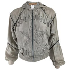 John Richmond Vintage Womens Pure Silk Embroidered Hooded Bomber Jacket