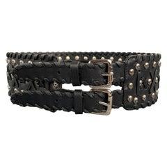 JOHN RICHMOND Waist Size S Skull Black Leather Double Buckle Belt