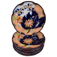 John Ridgway English Chinoiserie Style Floral Cobalt Imari Plates S/8 Dated 1845
