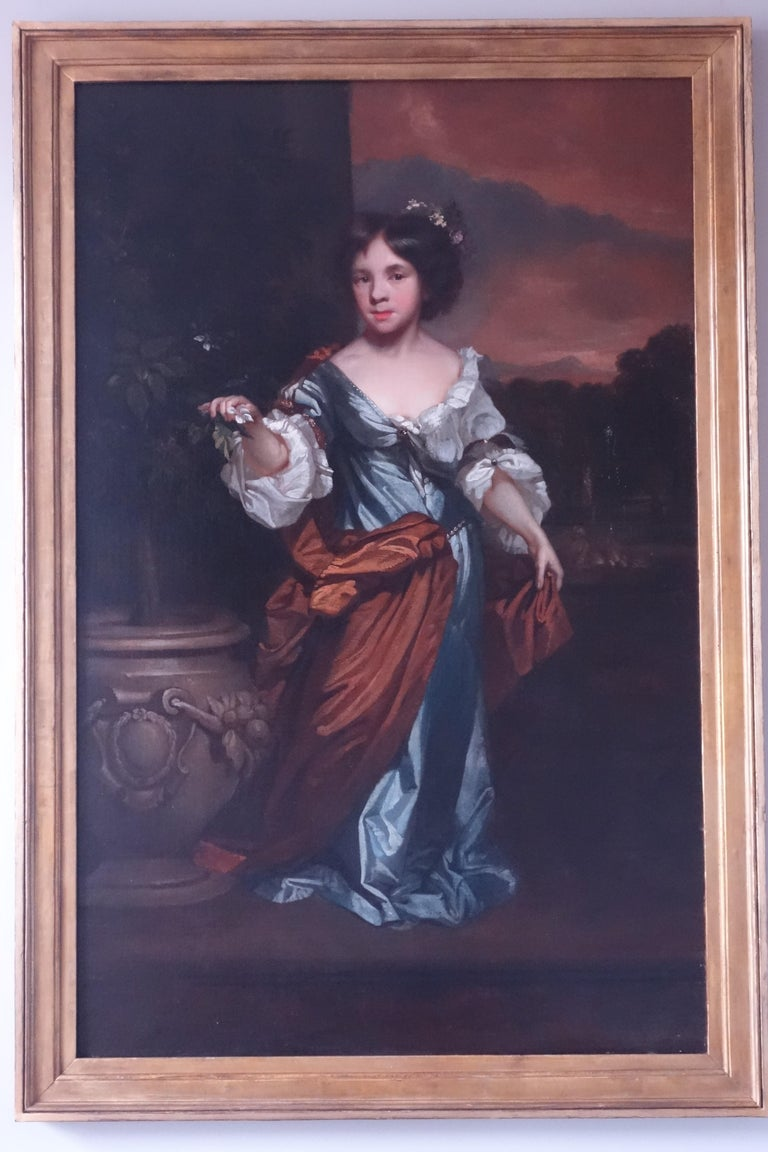 17th century portrait of a young girl on a garden terrace - Painting by John Riley