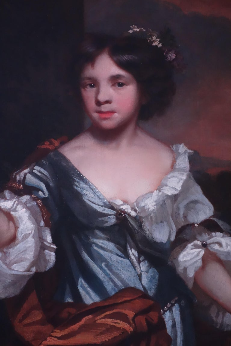 17th century portrait of a young girl on a garden terrace - Black Portrait Painting by John Riley