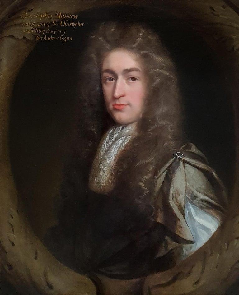 Portrait of Christopher Musgrave (1664-1718) circa 1690 - Black Portrait Painting by John Riley