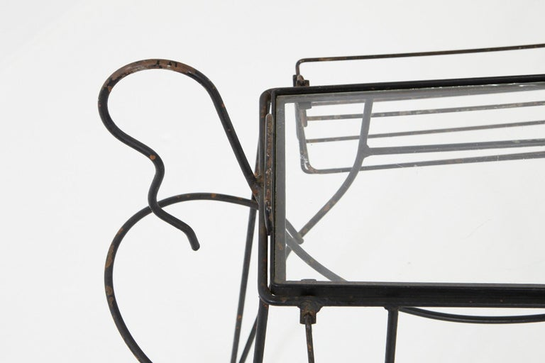 John Risley Black Iron Horse Bar Cart with Bottle Holders and Removable Tray For Sale 3