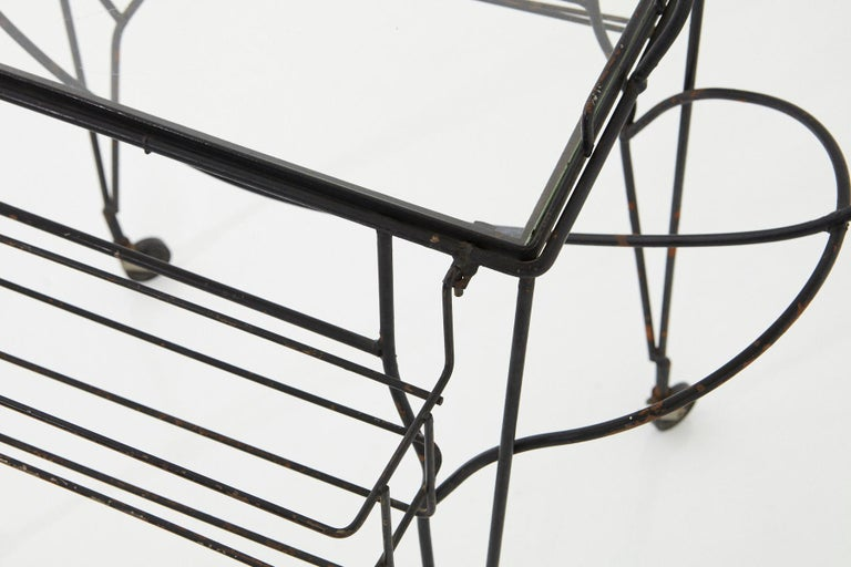 John Risley Black Iron Horse Bar Cart with Bottle Holders and Removable Tray For Sale 4