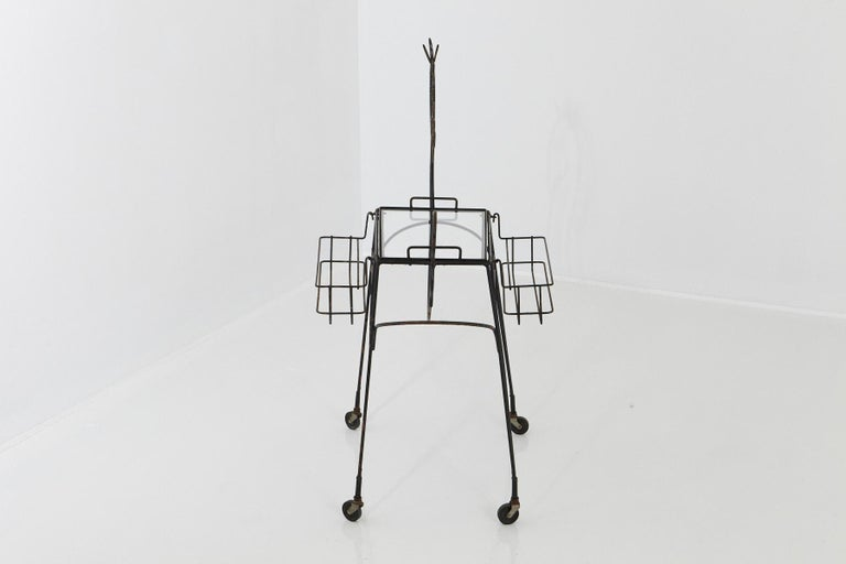 Enameled John Risley Black Iron Horse Bar Cart with Bottle Holders and Removable Tray For Sale