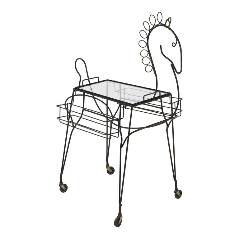 John Risley Black Iron Horse Bar Cart with Bottle Holders and Removable Tray For Sale