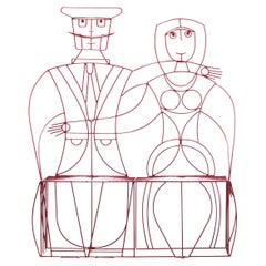 John Risley Sculptural Woman & Man Steel Bench in Fire Engine Red c. 1960s