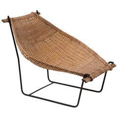 John Risley Wicker and Iron 1950s Chaise