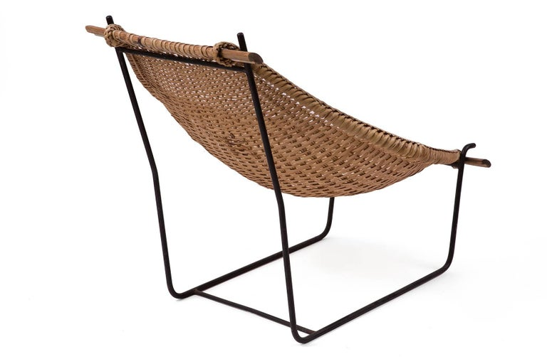 John Risley Wicker and Iron Chaise In Good Condition For Sale In Phoenix, AZ