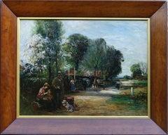 Outside The Bell Inn - Scottish Impressionist 20's landscape oil painting