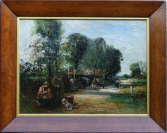 The Bell Inn - Scottish Impressionist 20's pastoral genre landscape oil painting