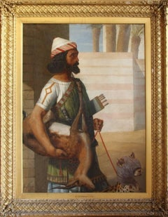 Magnificent C19th Oil Painting of Babylonian Nobleman with a Hunting Cheetah