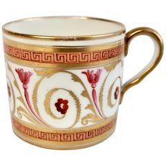 John Rose Coalport Orphaned Coffee Can Gilt, Peach and Pink, Regency, circa 1810