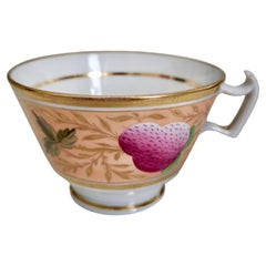 John Rose Coalport Orphaned Teacup, Pink Strawberries Pattern, Regency ca 1815