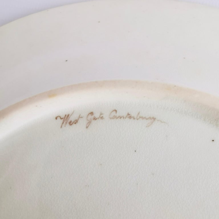 John Rose Coalport Plate, Canterbury landscape Thomas Baxter, Georgian ca 1810 For Sale 4