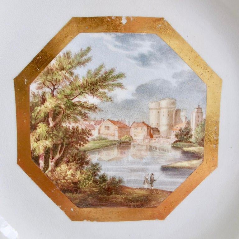 George III John Rose Coalport Plate, Canterbury landscape Thomas Baxter, Georgian ca 1810 For Sale