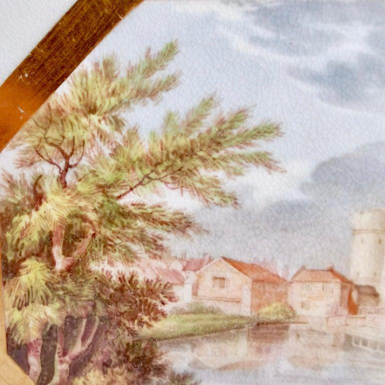 English John Rose Coalport Plate, Canterbury landscape Thomas Baxter, Georgian ca 1810 For Sale