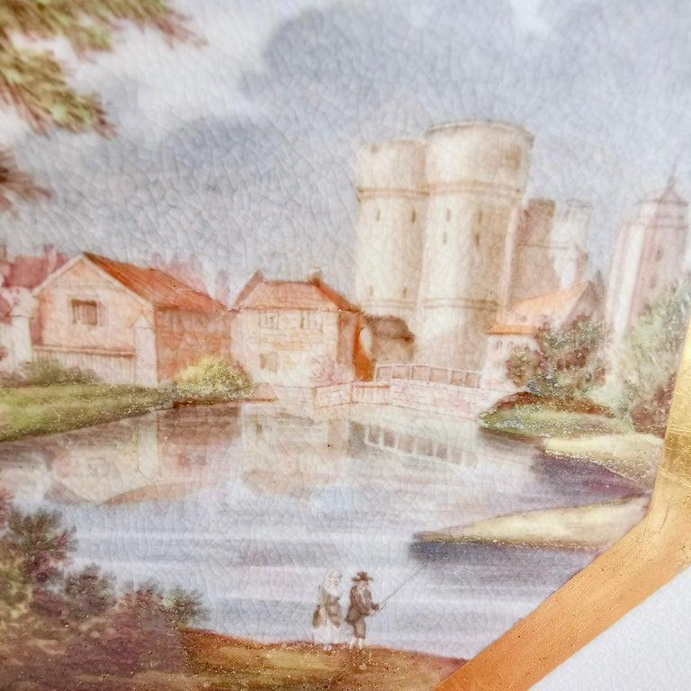 Hand-Painted John Rose Coalport Plate, Canterbury landscape Thomas Baxter, Georgian ca 1810 For Sale