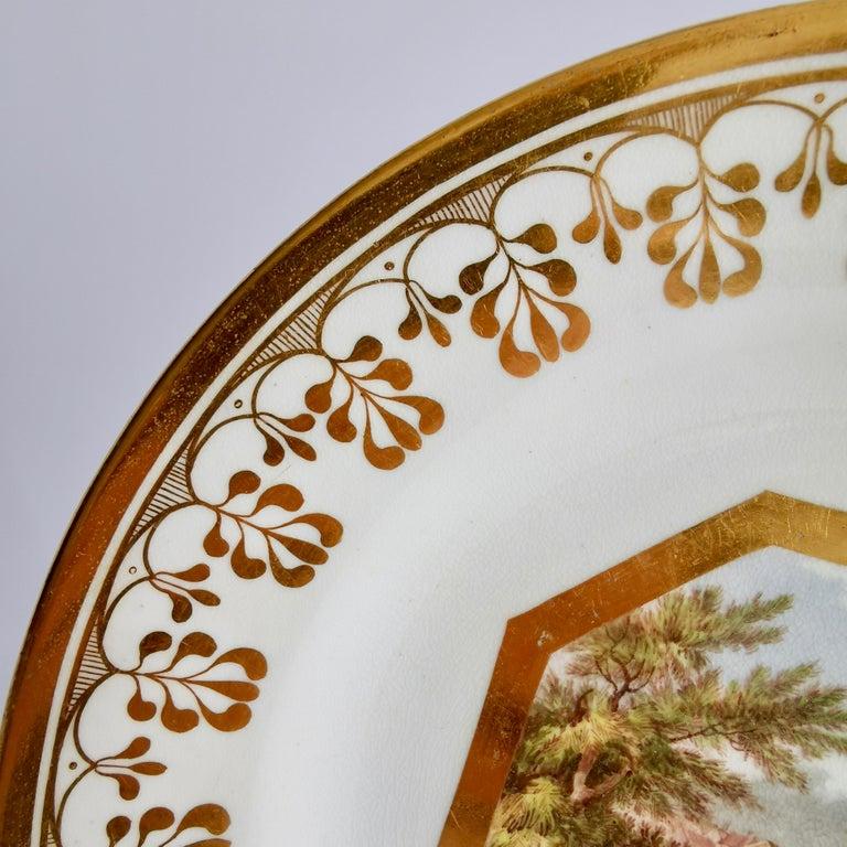Porcelain John Rose Coalport Plate, Canterbury landscape Thomas Baxter, Georgian ca 1810 For Sale