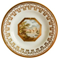 John Rose Coalport Plate, Named landscape by Thomas Baxter, Georgian ca 1810