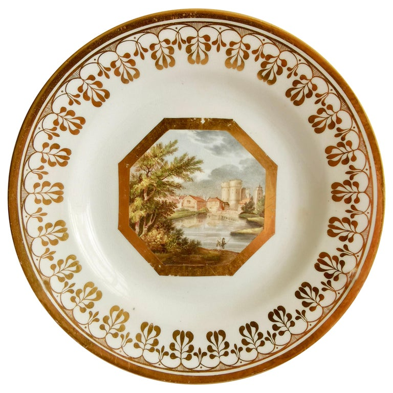 John Rose Coalport Plate, Canterbury landscape Thomas Baxter, Georgian ca 1810 For Sale