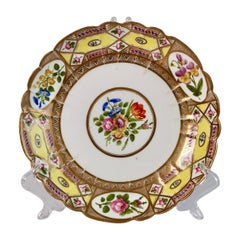 John Rose Coalport Plate, Yellow Church Gresley Pattern, Regency, circa 1810