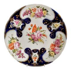 John Rose Coalport Porcelain Plate, Cobalt Blue with Flowers, Regency ca 1805