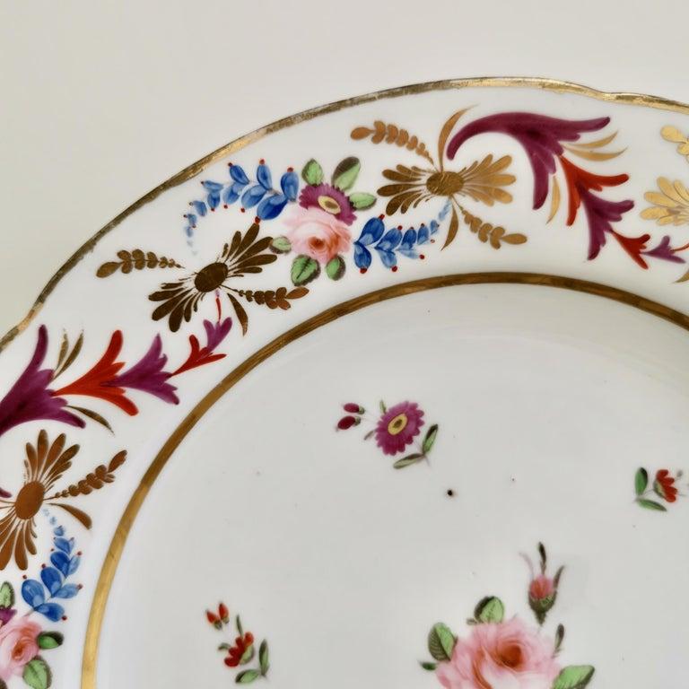 English John Rose Coalport Porcelain Plate, Improved Feldspar, Regency Pattern ca 1825