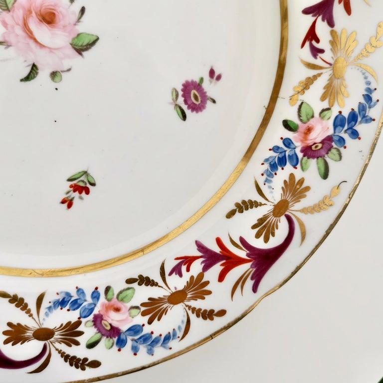 Early 19th Century John Rose Coalport Porcelain Plate, Improved Feldspar, Regency Pattern ca 1825