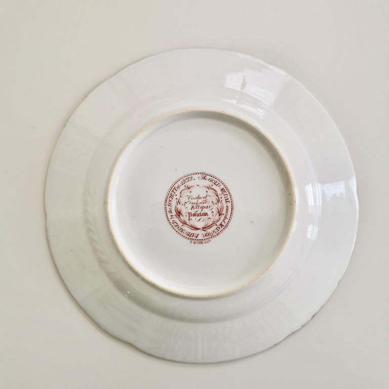 John Rose Coalport Porcelain Plate, Improved Feldspar, Regency Pattern ca 1825 2