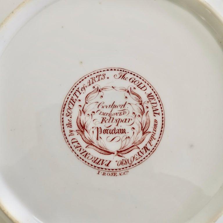 John Rose Coalport Porcelain Plate, Improved Feldspar, Regency Pattern ca 1825 3