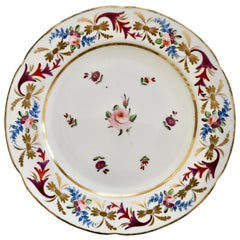 John Rose Coalport Porcelain Plate, Improved Feldspar, Regency Pattern ca 1825